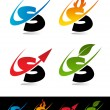 Swoosh Alphabet Icons S - Stok Vektr