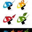 Swoosh Alphabet Icons P - Stok Vektr