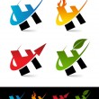Swoosh Alphabet Icons H - Stockvectorbeeld