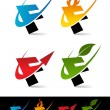 Swoosh Alphabet Icons F - Stock Vector