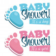 Stock Vector: Baby Shower Invitations with Baby Feet Icons