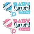Постер, плакат: Baby Shower Invitation with Rattle
