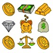 Stock Vector: Gold Money and Financial Doodle Icons