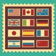 Vintage Stamps Representing World Flags - Stock Vector