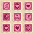 Valentine Heart Stamps — 图库矢量图片
