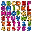 Colorful Doodle Alphabet and Numbers - Stock Vector