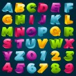 Colorful 3D Alphabet and Numbers — Vettoriali Stock