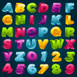 Colorful 3D Alphabet and Numbers — Stock Vector