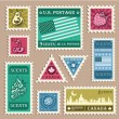 Vintage Stamp Stickers — Stock Vector