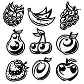 Black and White Stylized Fruit Icons — Stock Vector