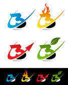 Swoosh Number Icons 3 — Stock Vector