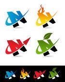 Swoosh Alphabet Icons N — Stock Vector