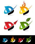 Swoosh Alphabet Icons D — Stock Vector