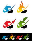 Swoosh Alphabet Icons C — Stock Vector