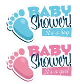 Baby Shower Invitations with Baby Feet Icons — Stock Vector