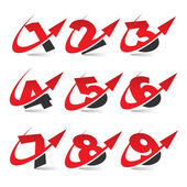 Swoosh Arrow Number Icons — Stock Vector