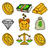 Gold Money and Financial Doodle Icons — Stock Vector
