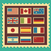 Vintage Stamps Representing World Flags — Stock Vector