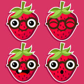 Fresas inteligentes con anteojos — Vector de stock