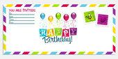 Happy Birthday Invitation Card — Stock Vector