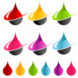 Colorful Swoosh Raindrop Icons — Stock Vector #19335193