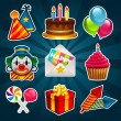 Happy Birthday Party Icons — Stock Vector