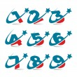 Swoosh Patriotic Numbers - Stock Vector