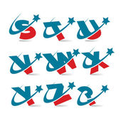 Swoosh Patriotic Alphabet Set 3 — Stock Vector