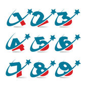 Swoosh Patriotic Numbers — Stock Vector