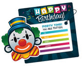 Birthday Clown Invitation — Vecteur