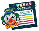 Invitation de clown anniversaire — Vecteur