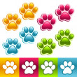 Stock Vector: Colorful Animal Paws