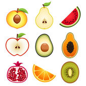 Halve Fruits Icons — Stock Vector