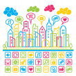 Social Media City — Stock Vector