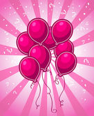 Pink Party Balloons — Stock Vector