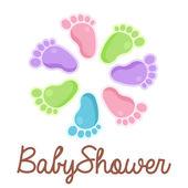 Emblème de pieds bébé douche — Vecteur