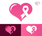 Pink Ribbon Heart Awarness Icon — Stock Vector
