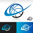 Swoosh Basketball Icon — Stock Vector
