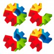 Colorful 3D Gear Icons — Stock Vector