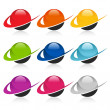 Stock Vector: Swoosh Colorful Sphere Icons