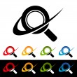 Swoosh Magnifying Glass Icons - Vettoriali Stock