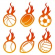 Fire Sport Balls — Stock Vector