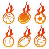 Fire Sport Balls — Stock Vector