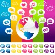 Colorful Social Media Planet Earth with Icons — Stock Vector
