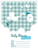 Baby Boy Invitation with Stork — Stock Vector