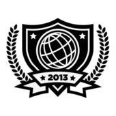 Vector World Globe Emblem — Stock Vector