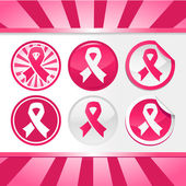 Sticker and Buttons with Pink Awareness Ribbons — Stock Vector