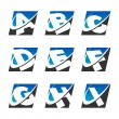 Swoosh Sport Alphabet Icons Set 1 — Stock Vector