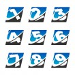 Swoosh Sport Number Icons Set — Stock Vector