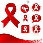 Red Awareness Ribbons Kit — Stockvektor